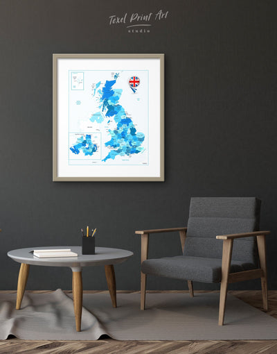 Framed Detailed Map Of Northern Ireland Wall Art Print - bedroom Blue Country Map framed print Hallway
