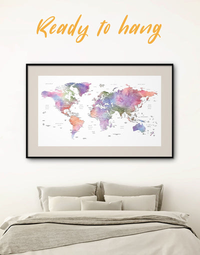 Framed Detailed Violet World Map Wall Art Print - Contemporary contemporary wall art framed map wall art framed print framed wall art