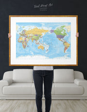 Framed Detailed World Map Wall Art Print 0782