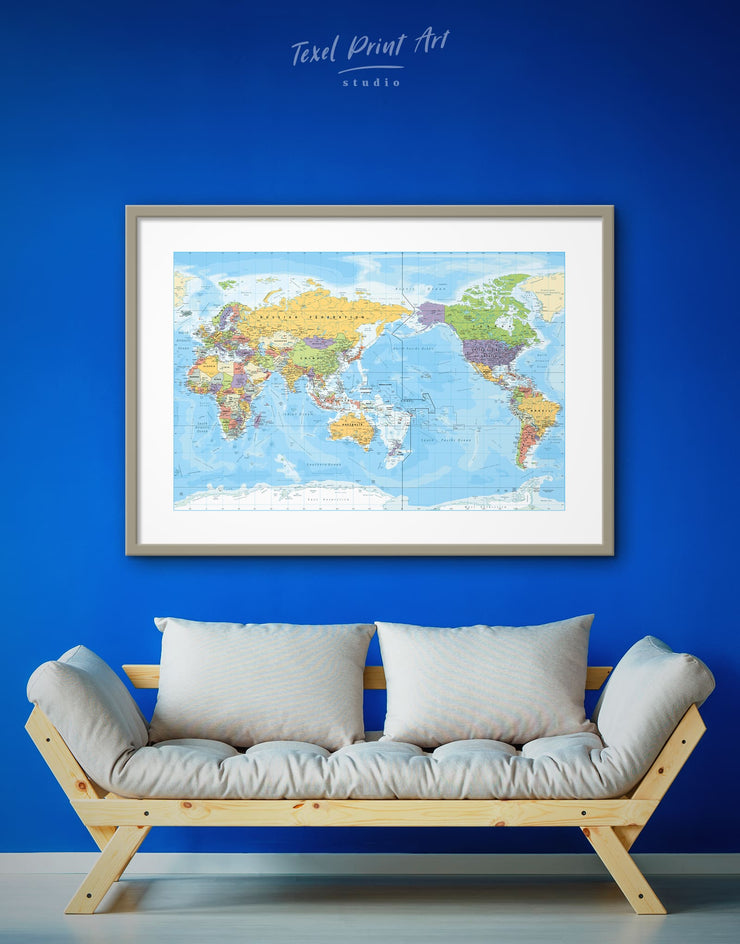 Framed Detailed World Map Wall Art Print - bedroom Blue Blue Wall Art blue wall art for bedroom Blue wall art for living room