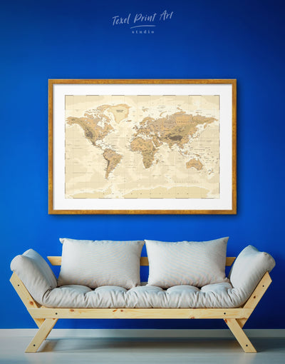 Framed Detailed World Map Wall Art Print - bedroom Brown framed print framed world map print Living Room