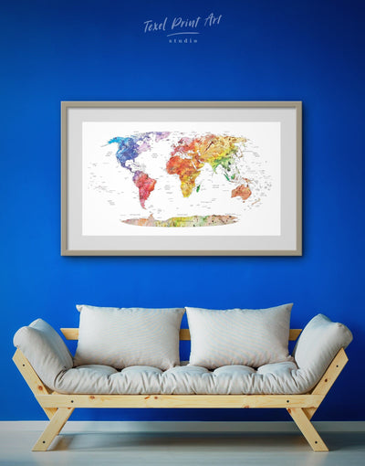 Framed Detailed World Map Wall Art Print - bedroom contemporary wall art framed framed map wall art framed print