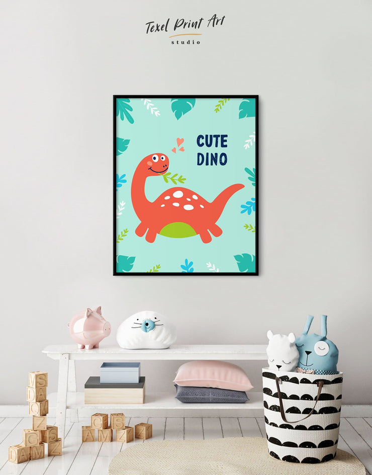 Framed Dinosaur Nursery Art Canvas - Canvas Wall Art framed canvas Kids room kids wall art Nursery Nursery animal prints