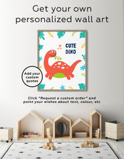 Framed Dinosaur Nursery Art Canvas