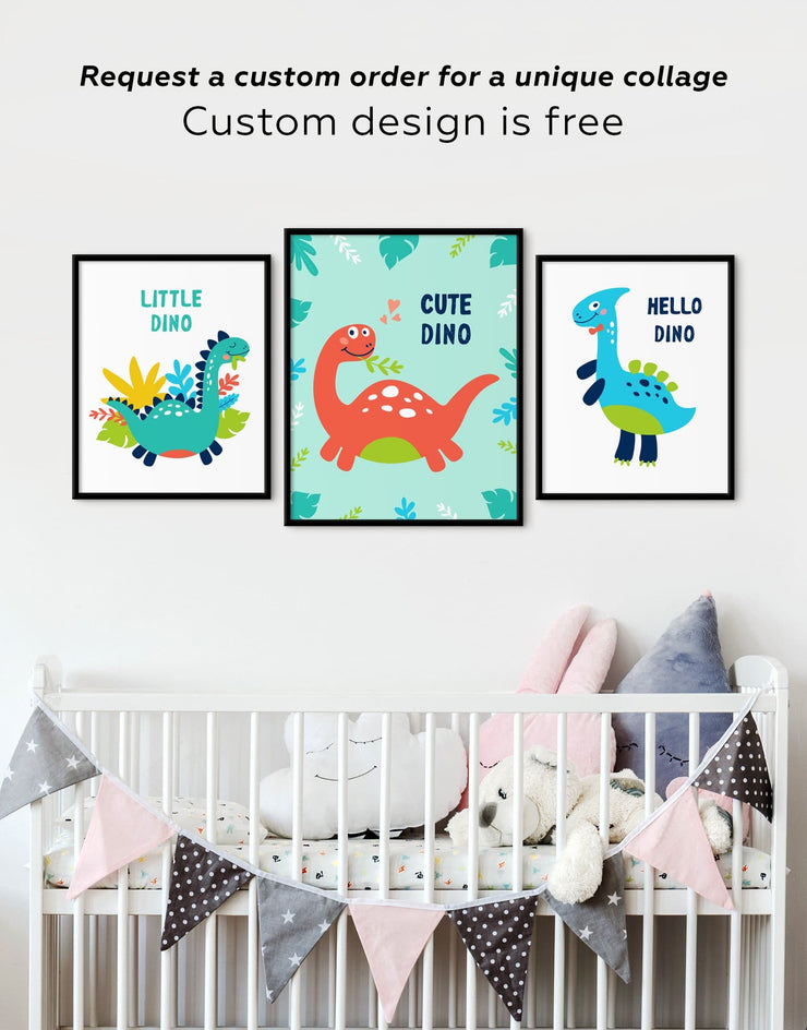 Framed Dinosaur Nursery Art Canvas - Kids Wall Art framed canvas Kids room kids wall art Nursery Nursery animal prints