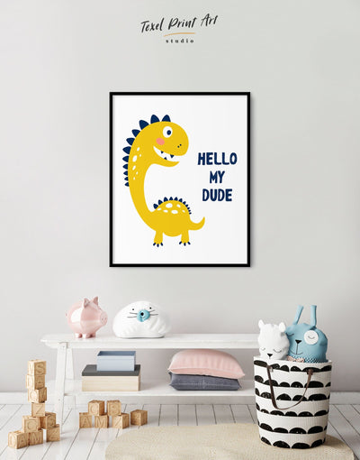 Framed Dinosaur Nursery Wall Art Canvas - Canvas Wall Art framed canvas Kids room kids wall art Nursery Nursery animal prints