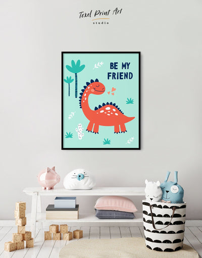 Framed Dinosaur Wall Art for Nursery Canvas - Canvas Wall Art framed canvas Kids room kids wall art Nursery Nursery animal prints