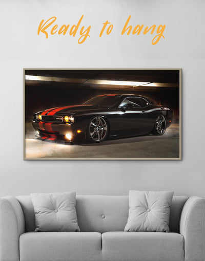 Framed Dodge Challenger Wall Art Canvas - bachelor pad Car framed canvas garage wall art Grey