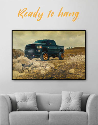 Framed Dogde Ram Wall Art Canvas - bachelor pad car framed canvas garage wall art Hallway
