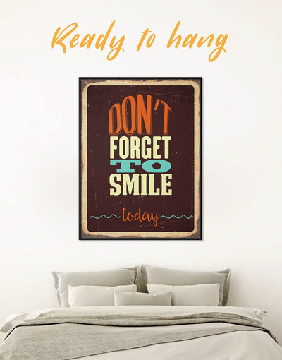 Framed Dont Forget to Smile Today Retro Wall Art Canvas - bedroom framed canvas Hallway Living Room Rustic
