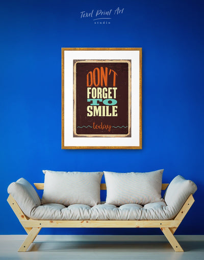 Framed Dont Forget to Smile Today Wall Art Print - bedroom framed print Hallway Living Room Rustic