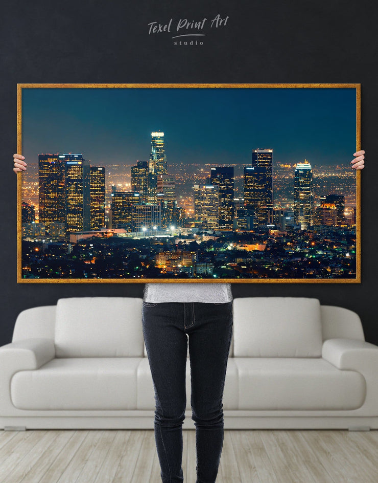 Framed Downtown Los Angeles Wall Art Canvas - Canvas Wall Art bedroom City Skyline Wall Art Cityscape framed canvas Hallway