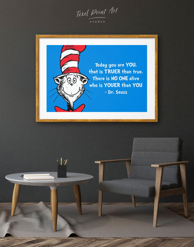 Framed Dr. Seuss Wall Art Print - Wall Art bedroom blue blue and white framed print Hallway