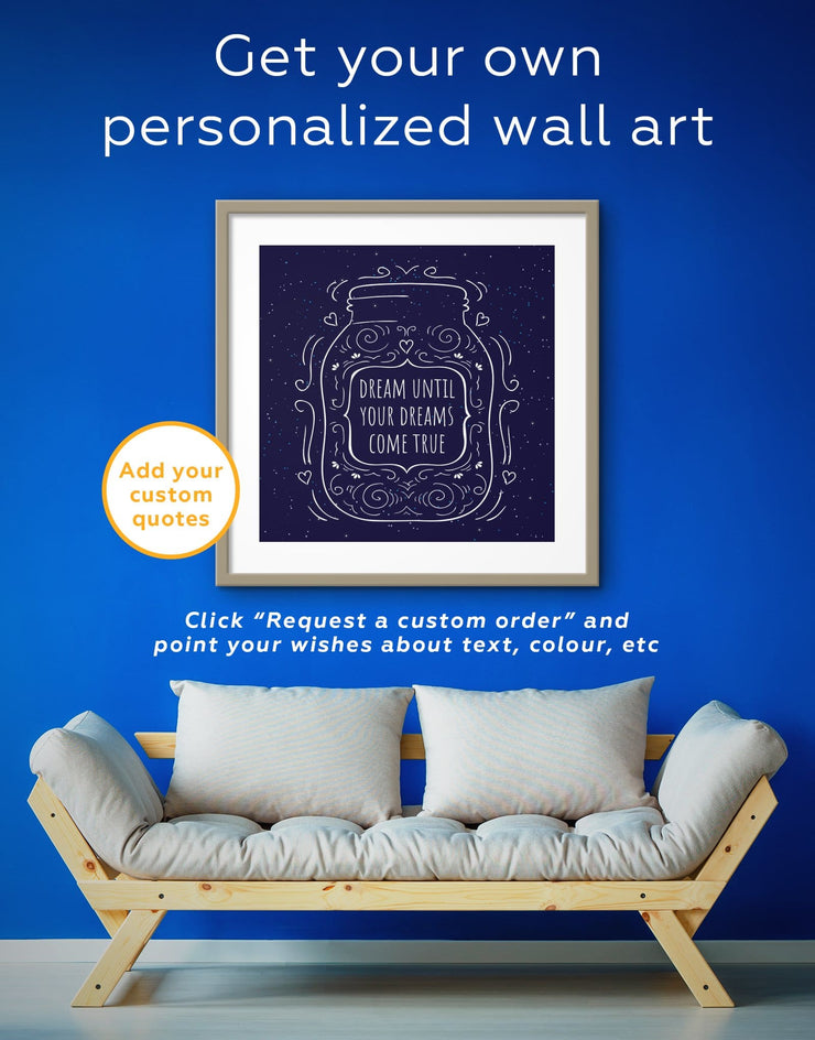 Framed Dream Until Your Dreams Come True Wall Art Print - Wall Art bedroom blue framed print Hallway inspirational wall art