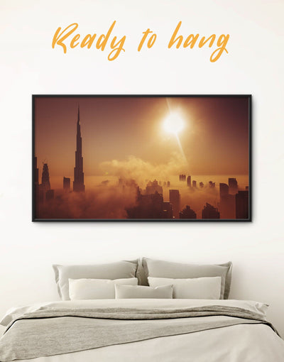 Framed Dubai Wall Art Canvas - bedroom City Skyline Wall Art Cityscape Dubai framed