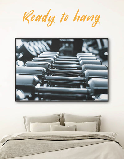 Framed Dumbbells Sports Wall Art Canvas - bachelor pad Black black and grey wall art black and silver wall art framed