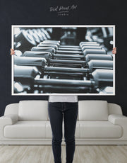 Framed Dumbbells Sports Wall Art Canvas