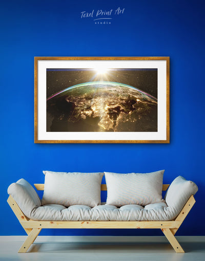 Framed Earth View Wall Art Print - framed print Hallway Living Room Office Wall Art space canvas wall art