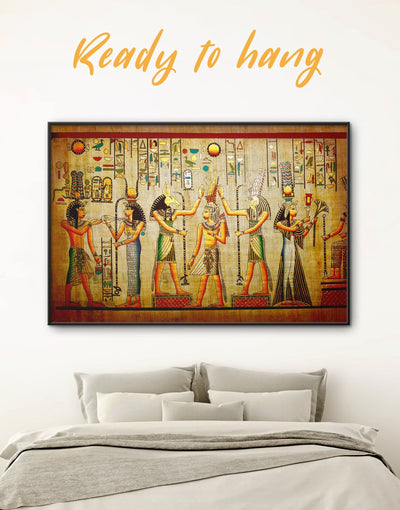 Framed Egyptian Wall Art Canvas - Antique Brown Egyptian framed canvas Hallway