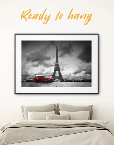 Framed Eiffel Tower Wall Art Print - bedroom Black eiffel tower wall art framed print french wall art