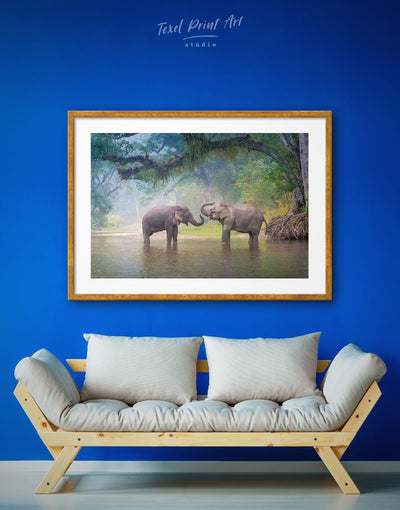 Framed Elephants in Water Wall Art Print - Animal Animals bedroom Blue elephant wall art