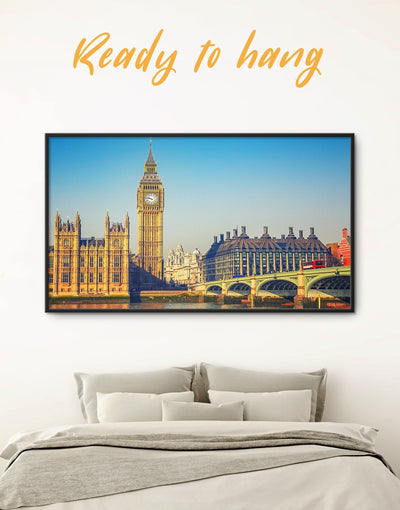 Framed English City London Wall Art Canvas - bedroom City Skyline Wall Art Cityscape Dining room framed canvas
