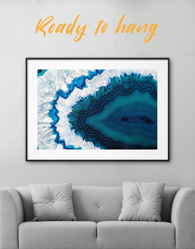 Framed Extraordinary Geode Wall Art Print - Abstract bedroom blue blue and white Blue wall art for living room