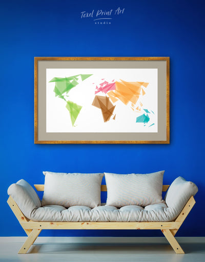 Framed Extraordinary World Map Wall Art Print - Abstract Abstract map bedroom brown framed print