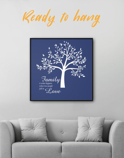 Framed Family Is What Happens When Two People Fall in Love Wall Art Canvas - bedroom blue Family framed canvas Hallway