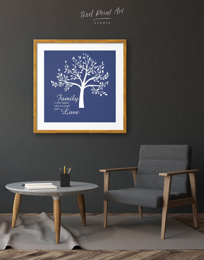 Framed Family Saying About Love Wall Art Print - bedroom blue Family framed print Hallway