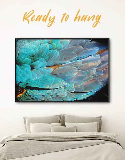 Framed Feather Wall Art Canvas - Animal bedroom bird wall art black and grey wall art Blue