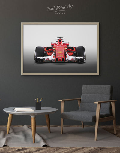 Framed Ferrari SF70H Race Car Wall Art Canvas - bachelor pad Car framed canvas garage wall art Hallway