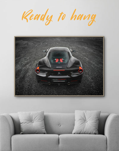 Framed Ferrari Wall Art Canvas - bachelor pad black car framed canvas garage wall art