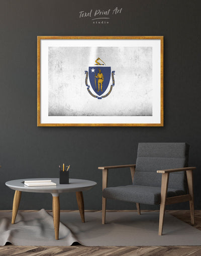Framed Flag of Massachusetts Wall Art Print - Blue Flag Wall Art framed print Hallway Living Room