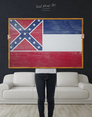 Framed Flag of Mississippi State Wall Art Canvas
