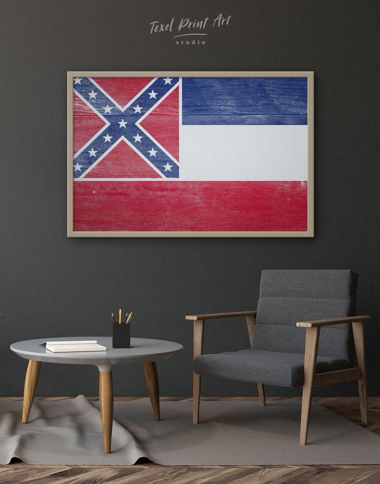 Framed Flag of Mississippi State Wall Art Canvas - Canvas Wall Art blue flag wall art framed canvas Hallway Living Room