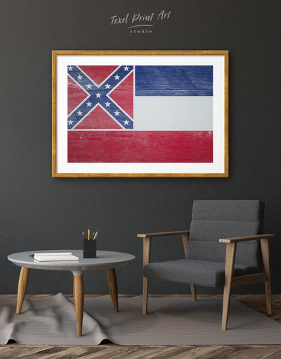 Framed Flag of Mississippi Wall Art Print - Wall Art blue flag wall art framed print Hallway Living Room