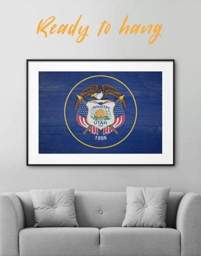 Framed Flag Of Utah Wall Art Print - blue flag wall art framed print Living Room Office Wall Art