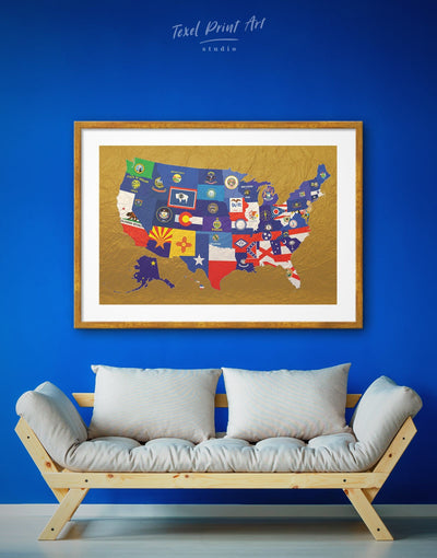 Framed Flags Golden Map Wall Art Print - Abstract Country Map Flag Wall Art framed print Gold