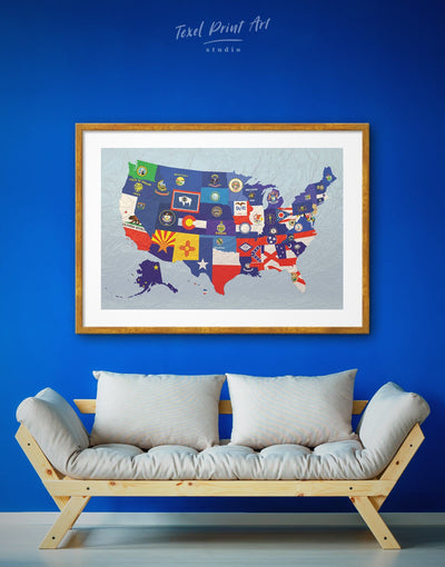 Framed Flags USA Map Wall Art Print - Abstract Country Map Flag Wall Art framed print Living Room