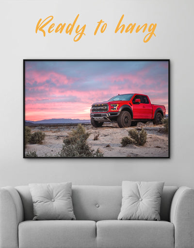 Framed Ford F-150 Raptor Wall Art Canvas - bachelor pad Car framed canvas garage wall art Hallway