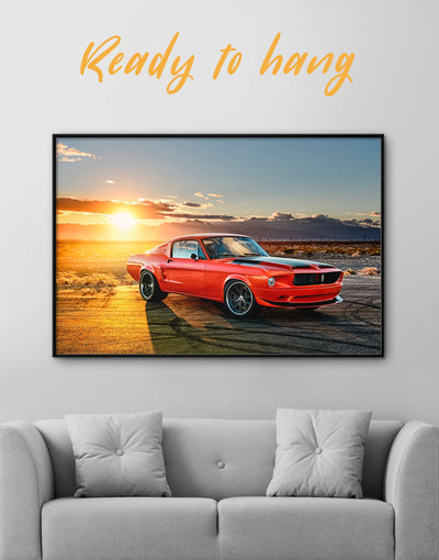 Framed Ford Mustang Wall Art Canvas - Car framed canvas garage wall art Sunset sunset wall art