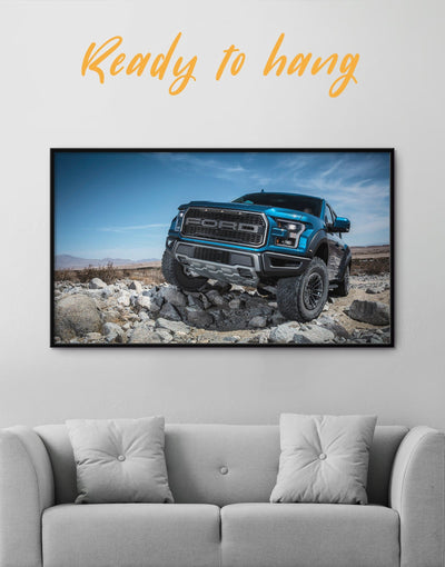 Framed Ford Raptor Car Wall Art Canvas - bachelor pad Car framed canvas garage wall art Hallway