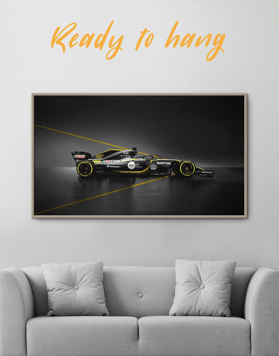 Framed Formula 1 Renault Racing Car Wall Art Canvas - bedroom Black Car framed canvas garage wall art