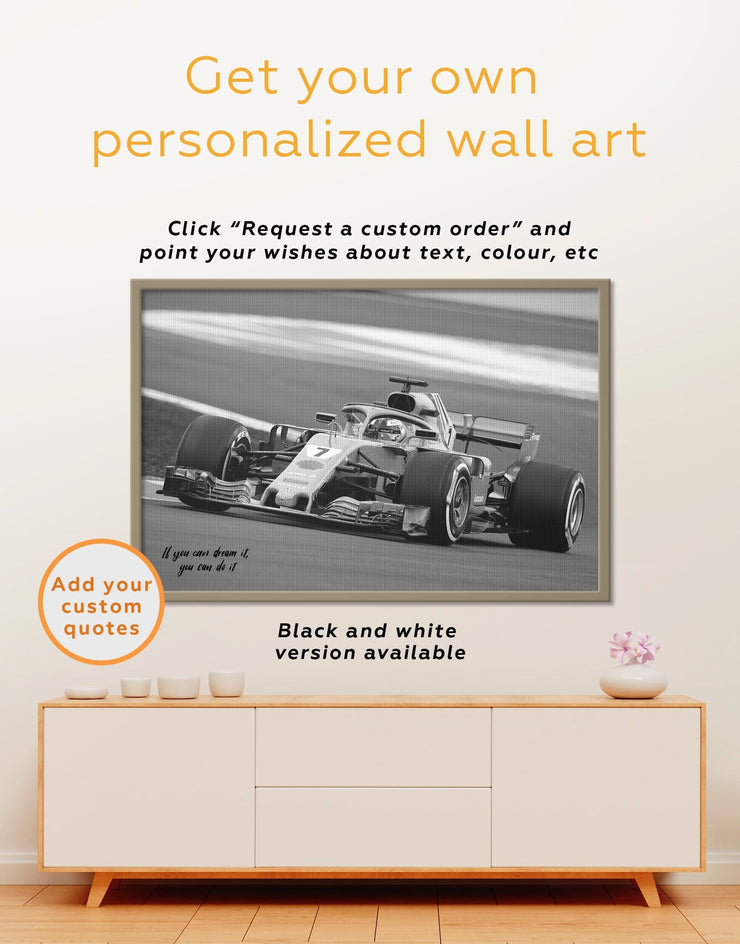 Framed Formula 1 Wall Art Canvas - bachelor pad Car framed canvas game room game room wall art