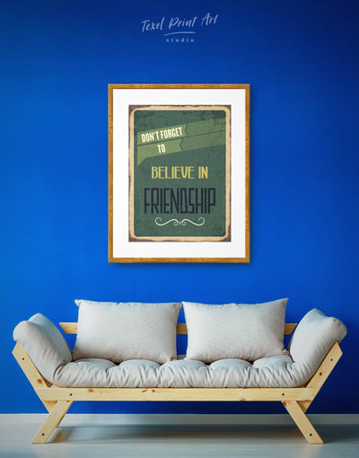 Framed Friendship Wall Art Print - framed print green Hallway inspirational wall art Living Room