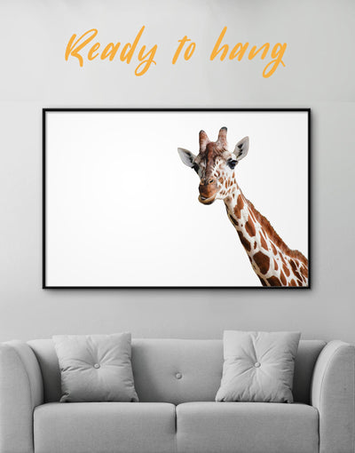 Framed Funny Giraffe Wall Art Canvas - Animal Animals bedroom framed canvas Living Room