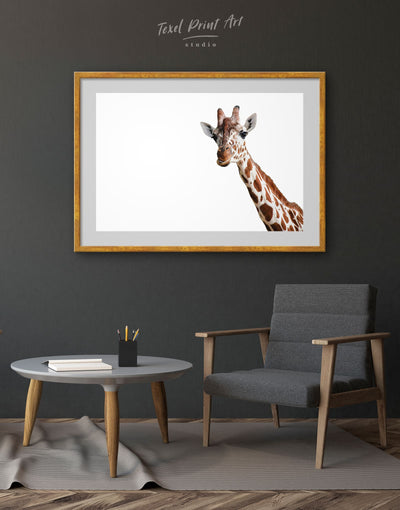 Framed Funny Giraffe Wall Art Print - Animal Animals bedroom framed print Living Room