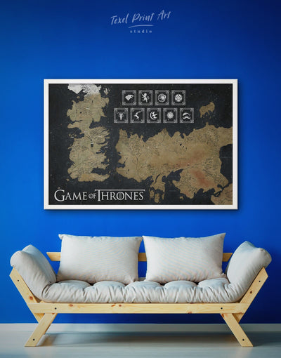 Framed Game of Thrones Map with Houses Sigil Wall Art Canvas - bedroom black and gold wall art framed canvas Game of Thrones Library