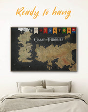 Framed Games of Thrones Map with House Sigils Wall Art Canvas